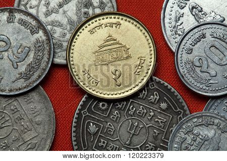 Coins of Nepal. Bageshwori Temple in Nepalgunj, Nepal depicted in the Nepalese one rupee coin.