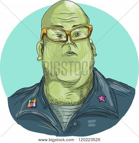 Green Man Alien General Circle Drawing