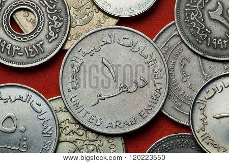 Coins of the United Arab Emirates. UAE one dirham coin.