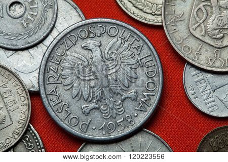Coins of Communist Poland. Coat of arms of the Polish People's Republic depicted in the Polish two zloty coin (1958).
