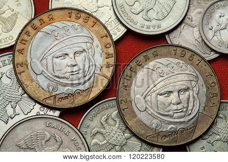 Coins of Russia. First Soviet cosmonaut Yuri Gagarin depicted in the Russian commemorative 10 ruble coin.