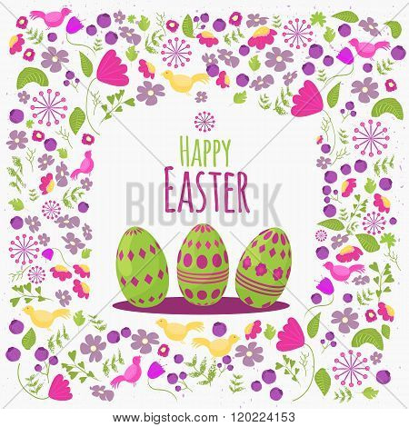 Easter  floral card with colorful eggs on white background. Can be used for easter greetings, easter