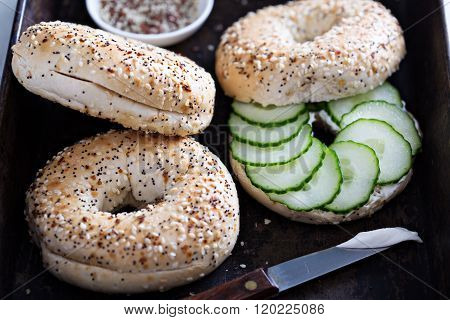 Everything bagels with cream cheese and cucumber