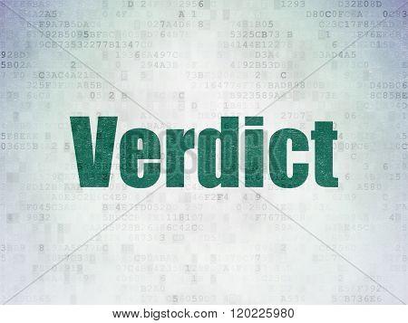 Law concept: Verdict on Digital Paper background