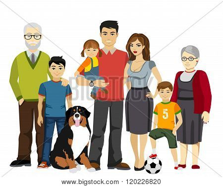 Big and Happy Family vector illustration