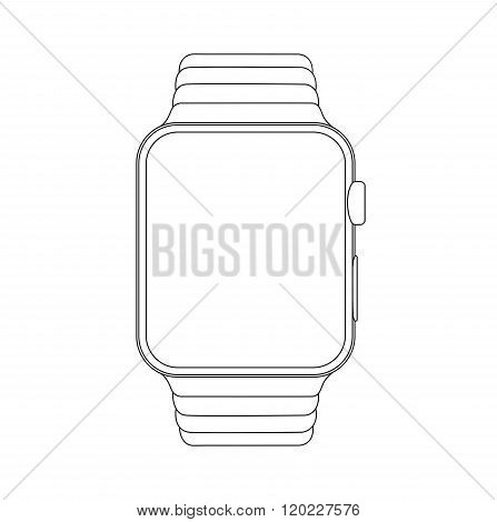 Outline drawing smartwatch. Elegant thin line style design.