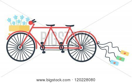 Wedding Vintage tandem bicycle vector icon llustration isolated. Elegant style design.
