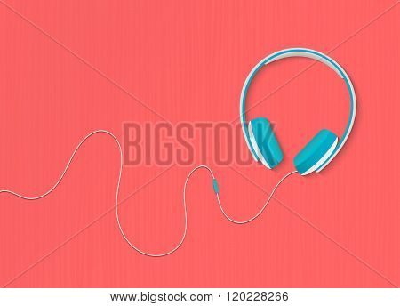 Modern style headphones on the red orange background. Vector illustration.