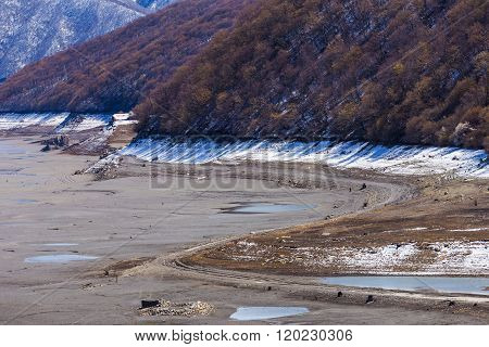 Empty Lake Near Ananuri Castle, Georgia
