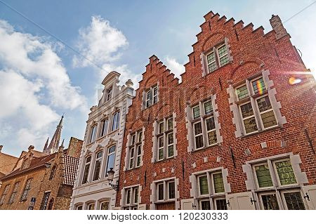 Architectural Facade Detail At Old Buildingas Placed In Bruges, Belgium