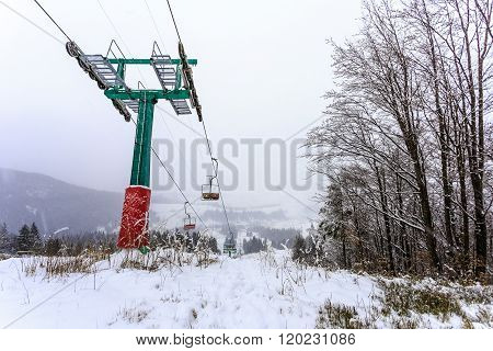 Big Ski Lift In The Fog