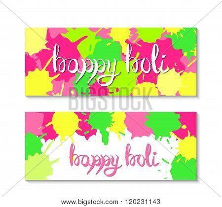 Happy holi banners. Holi festival illustration.  Vector holi party elements design.
