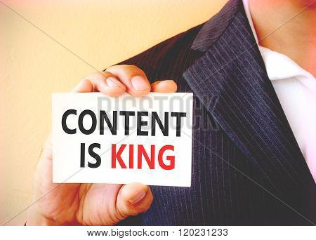 Content Is King Word On The White Card