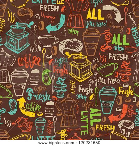 Seamless hand-drawn coffee  seamless pattern.  Coffee pattern with lettering. Colorful coffee patter