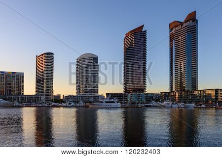 Residential High Rise Buildings In Docklands Waterfront