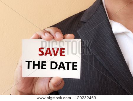Save The Date Word On The White Card