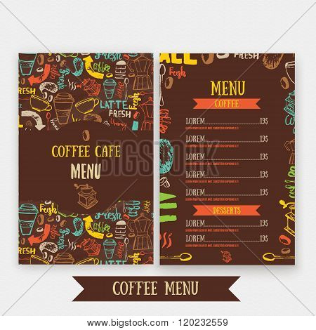 Cafe menu template design with lettering for coffee shop. Hand drawn cafe menu design. Modern hipste