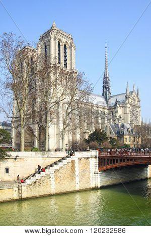 Waterfront and Notre Dame de Paris, France