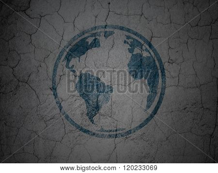 Studying concept: Globe on grunge wall background