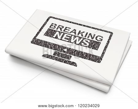 News concept: Breaking News On Screen on Blank Newspaper background