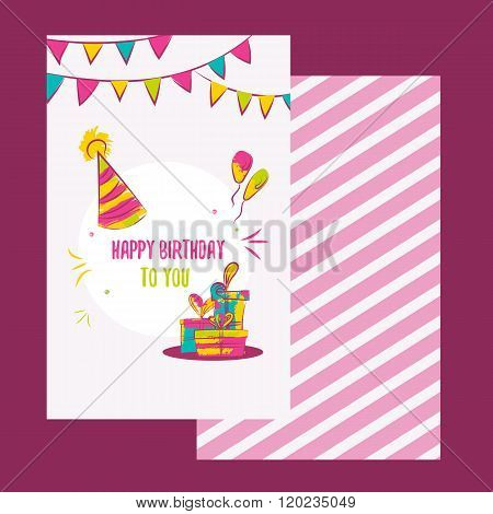 Vector happy birthday card. Colorful happy birthday design can be used for happy birthday banners, p