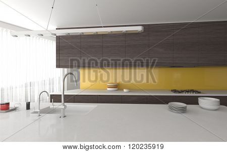 Modern open-plan yellow and grey kitchen interior with built in cabinets and appliances and a center island with daylight from a large floor-to-ceiling panoramic window with blinds. 3d Rendering.