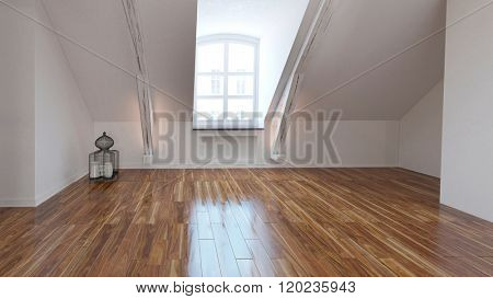 Empty loft room interior with dormer window and a shiny wooden parquet floor with a white sloping wall. 3d Rendering.