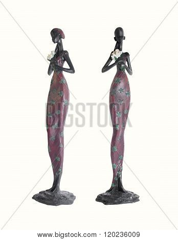 Isolated African girl statuette photo.