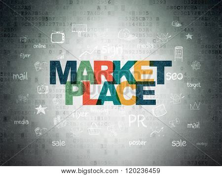 Marketing concept: Marketplace on Digital Paper background