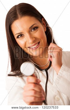 Woman Doctor Listen To Heartbeating With Stethoscope.