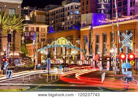 FEBRUARY 26 ,2016: Gaslamp Quarter at night. The historic district is the center of nightlife in the city.