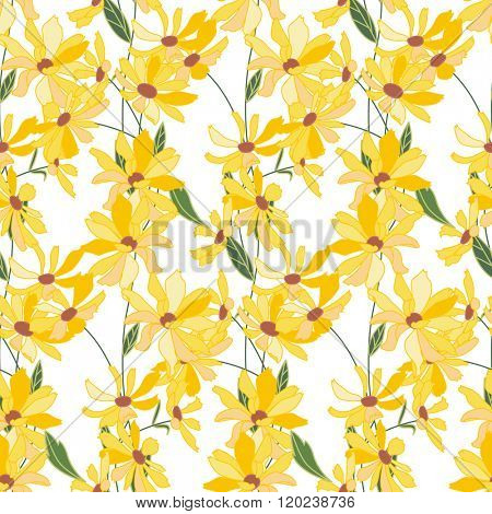 Floral seamless pattern made of yellow daisy flowers. Endless texture for  design, decoration,  greeting cards, posters,  invitations, advertisement.