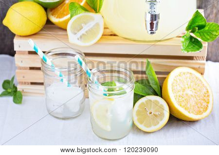 Citrus lemonade in mason jars
