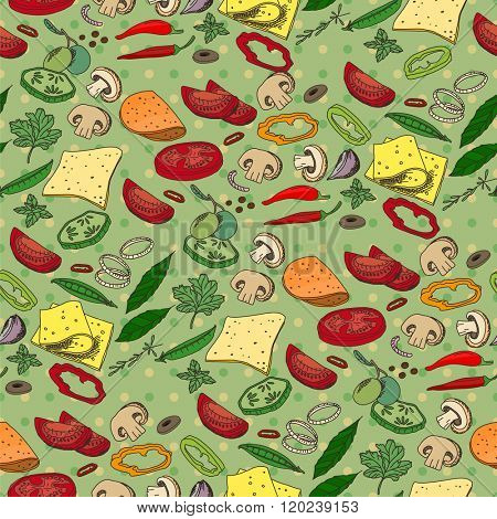 Seamless pattern with different vegetables, cheese and meat. Endless texture for your design, announcements, fabrics, cards, posters, restaurant and cafe menu.