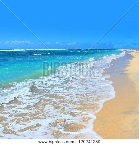 Ocean Wave. Natural background from Indian ocean on Mauritius beach.