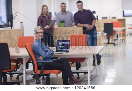 portrait of creative business people group in modern startup office interior
