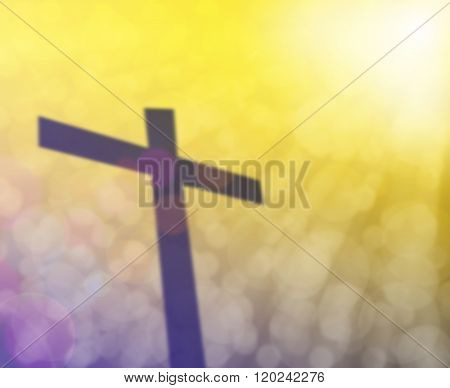 Cross And Colorful Light Bokeh With Light Flare