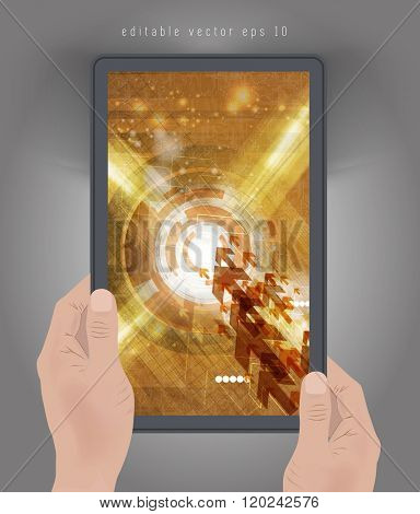 Technology template, tablet presentation, vector