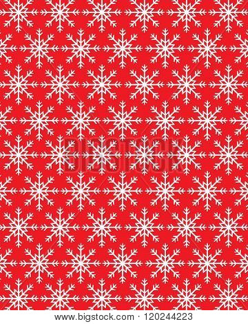 Red Vector Christmas Snowflake Wrapping Paper and Pattern