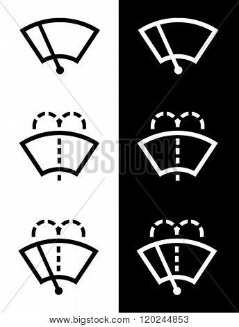 Vector Windshield Wiper Icon Set in Black and Reverse