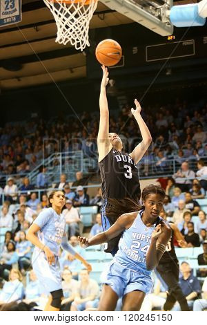 CHAPEL HILL, NC-FEB 28: Duke Blue Devils guard Angela Salvadores (3) goes up for a shot against the University of North Carolina Tar Heels on February 28, 2016 at Carmichael Arena.
