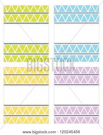 Vector Triangle Pattern Frame and Invitation Template Set