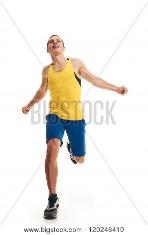 Man running full length finishing