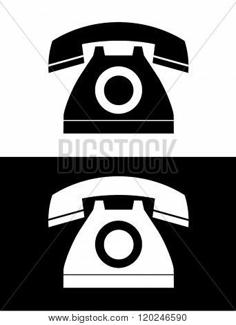 Vector Telephone Icon in Black and Reverse