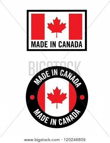 Vector Made in Canada Flag and Icon Set
