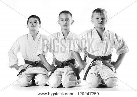 Karate boys in kimonos