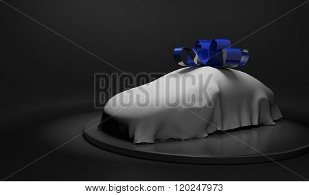 3D car wrapped under a white sheet and shiny blue bow