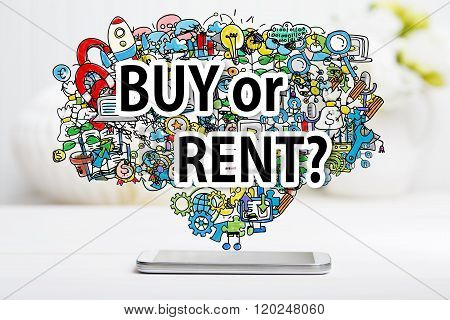 Buy Or Rent Concept With Smartphone