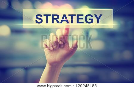 Strategy Concept With Hand Pressing A Button