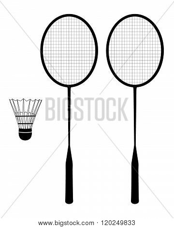 Vector badminton racquet and birdie set